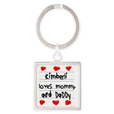 Kimberli Loves Mommy and Daddy Square Keychain