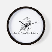 Surf Lanikai Beach, Hawaii Wall Clock