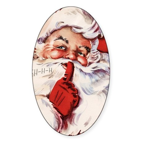 Vintage Santa Sticker (Oval)