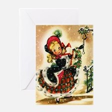 Vintage Christmas Girl Greeting Card