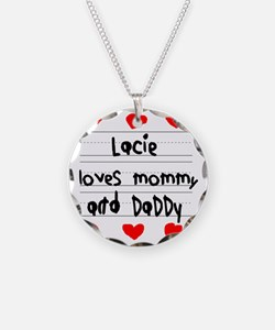 Lacie Loves Mommy and Daddy Necklace Circle Charm