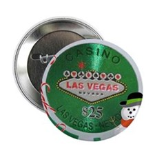 "Christmas Poker Chip 2.25"" Button"