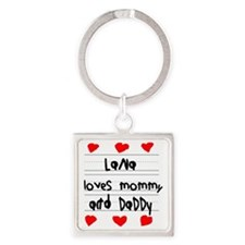 Lana Loves Mommy and Daddy Square Keychain
