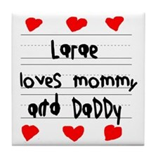 Larae Loves Mommy and Daddy Tile Coaster