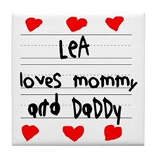Lea Loves Mommy and Daddy Tile Coaster