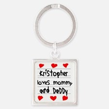 Kristopher Loves Mommy and Daddy Square Keychain