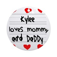 Kylee Loves Mommy and Daddy Round Ornament