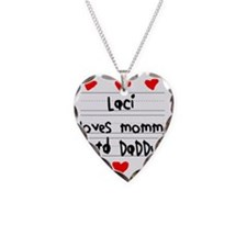 Laci Loves Mommy and Daddy Necklace Heart Charm