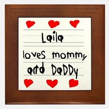 Laila Loves Mommy and Daddy Framed Tile