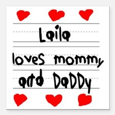 """Laila Loves Mommy and Da Square Car Magnet 3"""" x 3"""""""