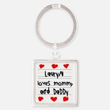 Lauryn Loves Mommy and Daddy Square Keychain