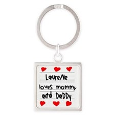 Laurene Loves Mommy and Daddy Square Keychain