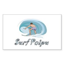 Surf Poipu, Hawaii Rectangle Decal