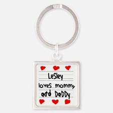 Lesley Loves Mommy and Daddy Square Keychain