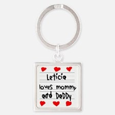 Leticia Loves Mommy and Daddy Square Keychain