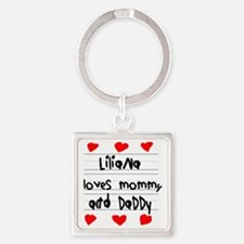 Liliana Loves Mommy and Daddy Square Keychain