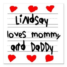 """Lindsay Loves Mommy and  Square Car Magnet 3"""" x 3"""""""