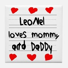 Leonel Loves Mommy and Daddy Tile Coaster
