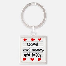 Leonel Loves Mommy and Daddy Square Keychain