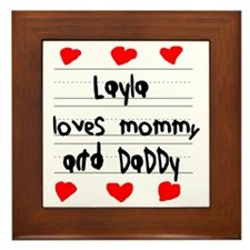 Layla Loves Mommy and Daddy Framed Tile