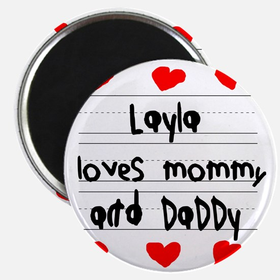 Layla Loves Mommy and Daddy Magnet