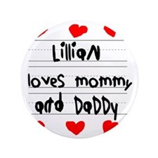 "Lillian Loves Mommy and Daddy 3.5"" Button"