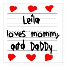 "Leila Loves Mommy and Da Square Car Magnet 3"" x 3"""