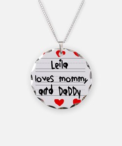 Leila Loves Mommy and Daddy Necklace