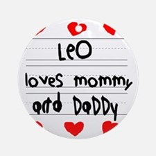 Leo Loves Mommy and Daddy Round Ornament