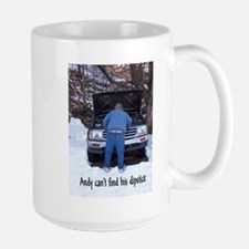 Andy can't find his dipstick Mug