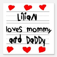 "Lilian Loves Mommy and D Square Car Magnet 3"" x 3"""