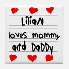 Lilian Loves Mommy and Daddy Tile Coaster