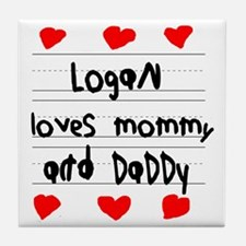 Logan Loves Mommy and Daddy Tile Coaster