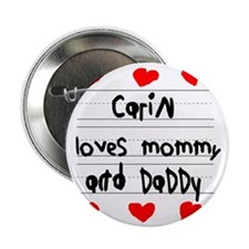 """Carin Loves Mommy and Daddy 2.25"""" Button"""