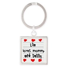 Lila Loves Mommy and Daddy Square Keychain