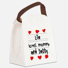 Lila Loves Mommy and Daddy Canvas Lunch Bag