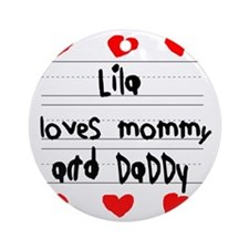Lila Loves Mommy and Daddy Round Ornament