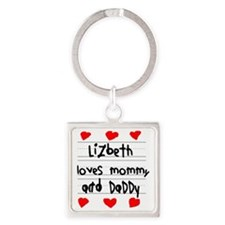 Lizbeth Loves Mommy and Daddy Square Keychain