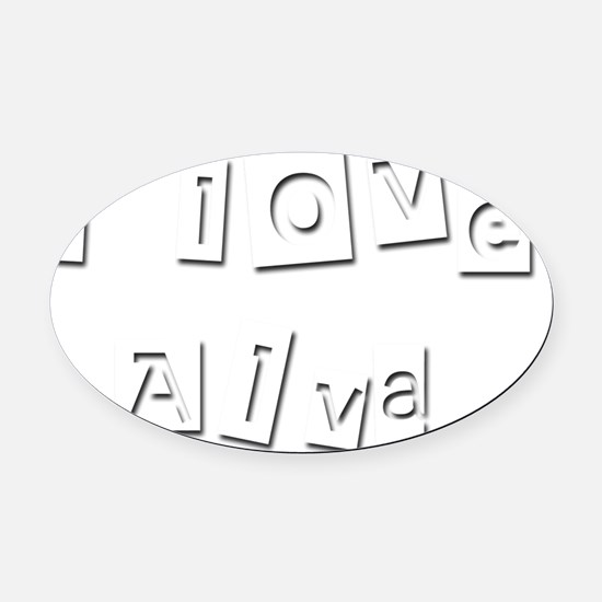 I Love Alva Oval Car Magnet