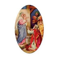 The Visit by the Three Wise Men Oval Car Magnet