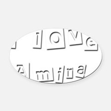 I Love Amira Oval Car Magnet