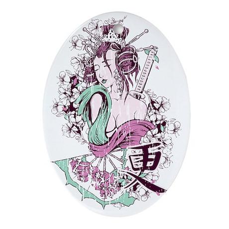 Geisha Girl Oval Ornament