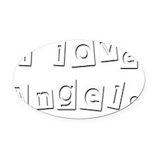 I Love Angelo Oval Car Magnet