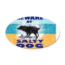 Salty Dog Notes Oval Car Magnet