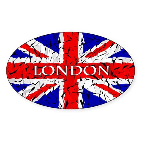 London - Union Jack (glass cutting Sticker (Oval)