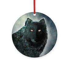 Black Wolf Round Ornament