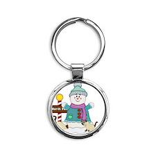 Snowman with Siamese Kitties Round Keychain