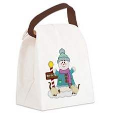 Snowman with Siamese Kitties Canvas Lunch Bag