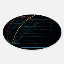 Proton and alpha particle tracks Sticker (Oval)