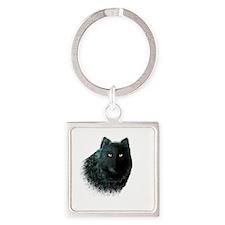 Black Wolf Square Keychain